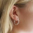 Small Double Orb Hoop Earrings in Silver on Model