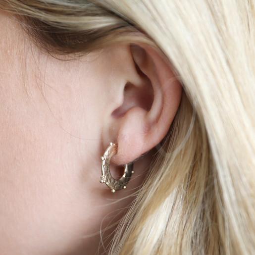 f5ff4687c Small Flat Orb Hoop Earrings in Gold on Model. Lisa Angel ...
