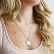 Ladies' Gold Sunbeam Pendant Necklace on Model