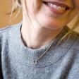 Gold Triple Orb Open Hoop Pendant Necklace on Model