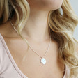 Ladies' Personalised Polished Silver Organic Shape Pendant Necklace on Model