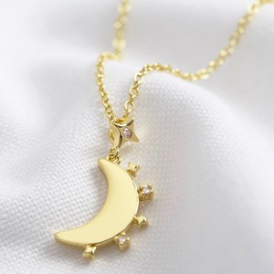 Crystal Edge Moon Pendant Necklace in Gold