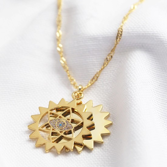 Double Mandala and Crystal Eye Pendant Necklace