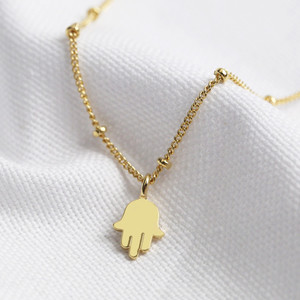 Gold Hamsa Hand Charm Necklace