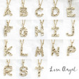 Lisa Angel Hammered Initial and Birthstone Charm Necklaces in Gold