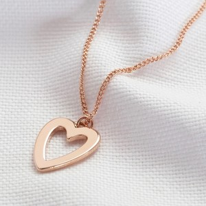 Heart Outline Necklace in Rose Gold