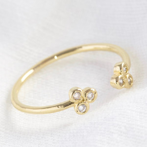 Adjustable Triple Dots Ring in Gold