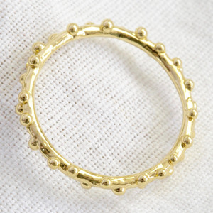Gold Sterling Silver Dotted Ring - M/L