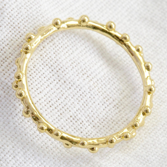 Gold Sterling Silver Dotted Ring - S/M
