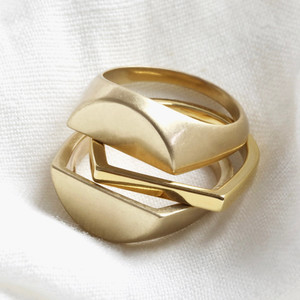 Three Part Signet Ring in Gold - M/L