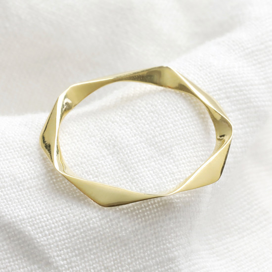 Twisted Gold Sterling Silver Ring - M/L