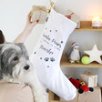Lisa Angel Personalised 'Santa Paws' Cotton Stocking with Jingle Bell for Dogs