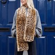 Lisa Angel Ladies' Long Faux Fur Leopard Print Stole on Model