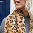 Long Faux Fur Leopard Print Stole on Model