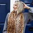 Women's Long Faux Fur Leopard Print Scarf on Model