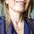 Personalised Gold Sterling Silver Organic Shape Interlocking Hoop Necklace on Model