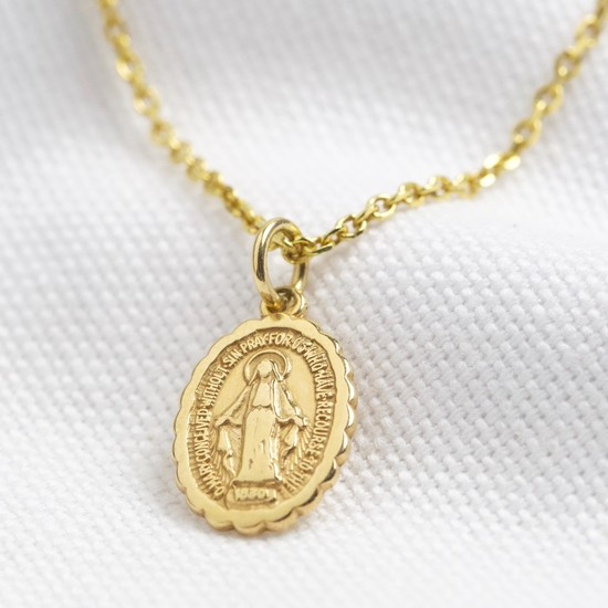 Clam edge oval small st christopher - gold plated sterling silver
