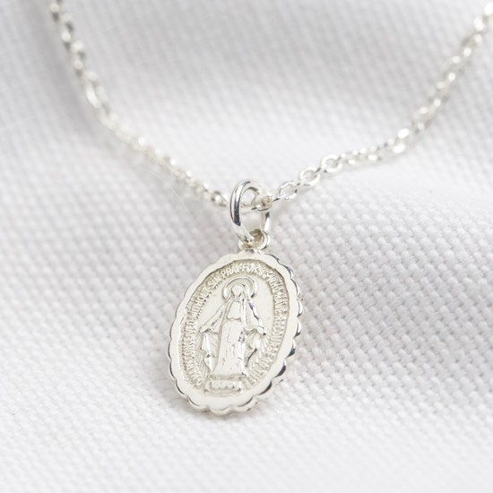 Clam edge oval small st christopher - sterling silver
