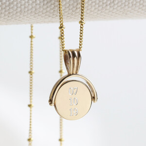 Small Gold Sterling Silver Spinning Disc Necklace