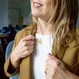 Personalised Sterling Silver Laurel Leaf Disc Necklace on Model