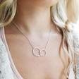 Personalised Sterling Silver Organic Shape Interlocking Hoop Necklace