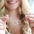 Women's Personalised Sterling Silver Organic Shape Interlocking Hoop Necklace on Model