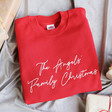 Lisa Angel Special Unisex Personalised Family Christmas Sweatshirt in Red