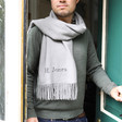 Men's Personalised Embroidered Lightweight Winter Scarf on Model