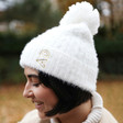 White Personalised Soft Knit Bobble Hat on Model