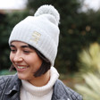Grey Personalised Soft Knit Bobble Hat on Model