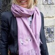 Lisa Angel Personalised Embroidered Initials Lightweight Winter Scarf on Model