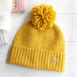 Lisa Angel Mustard Yellow Personalised Soft Knit Bobble Hat