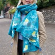 Lisa Angel Ladies' Personalised '3 Things' Winter Deer Print Scarf in Teal on Model
