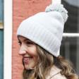 Lisa Angel Ladies' Soft Knit Bobble Hat in Grey