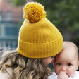 Lisa Angel Ladies' Soft Knit Bobble Hat in Mustard
