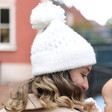 Lisa Angel Ladies' Soft Knit Bobble Hat in White