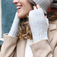 Lisa Angel Ladies' Soft Knit Hand Warmers in Grey on Model