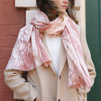 Ladies' Soft Pink Marbled Effect Scarf on Model
