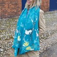 Personalised '3 Things' Winter Deer Print Scarf in Teal on Model