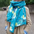 Lisa Angel Ladies' Winter Deer Print Scarf in Teal