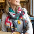 Lisa Angel with Ladies' House of Disaster Frida Kahlo Grey Scarf on Model