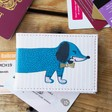 Lisa Angel with House of Disaster stripy blue dog print travel card holder