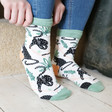 Model Wears House of Disaster Pack of 2 Feline Print Socks at Lisa Angel