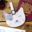 Lisa Angel with Cute House of Disaster Over the Moon Cat Luggage Tag
