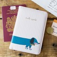 Lisa Angel with House of Disaster Over the Moon Dog Passport Holder