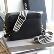 Lisa Angel Ladies' Black Leather Crossbody Bag with Personalised Black and White Striped Strap