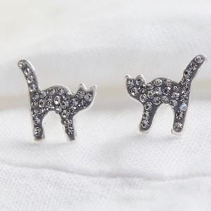 Sterling Silver Crystal Cat Stud Earrings
