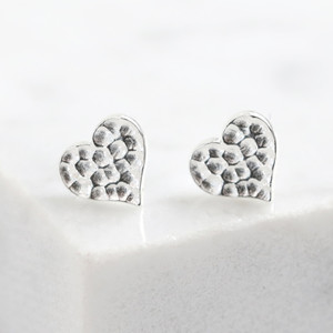 Sterling Silver Small Hammered Heart Stud Earrings