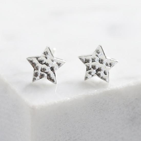 Sterling Silver Hammered Star Stud Earrings