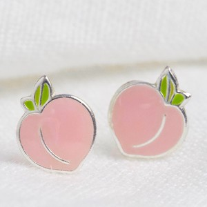 Sterling Silver Peach Stud Earrings